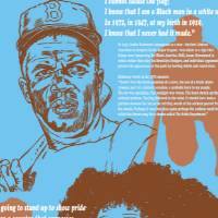"A collage of portraits and silhouettes, including Jackie Robinson and Colin Kaepernick, the header reads, ""I cannot stand and sing the anthem."""